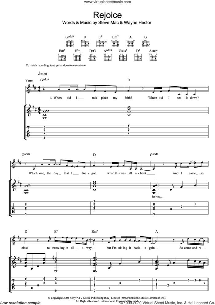 Rejoice sheet music for guitar (tablature) by Katherine Jenkins, Steve Mac and Wayne Hector, classical score, intermediate skill level
