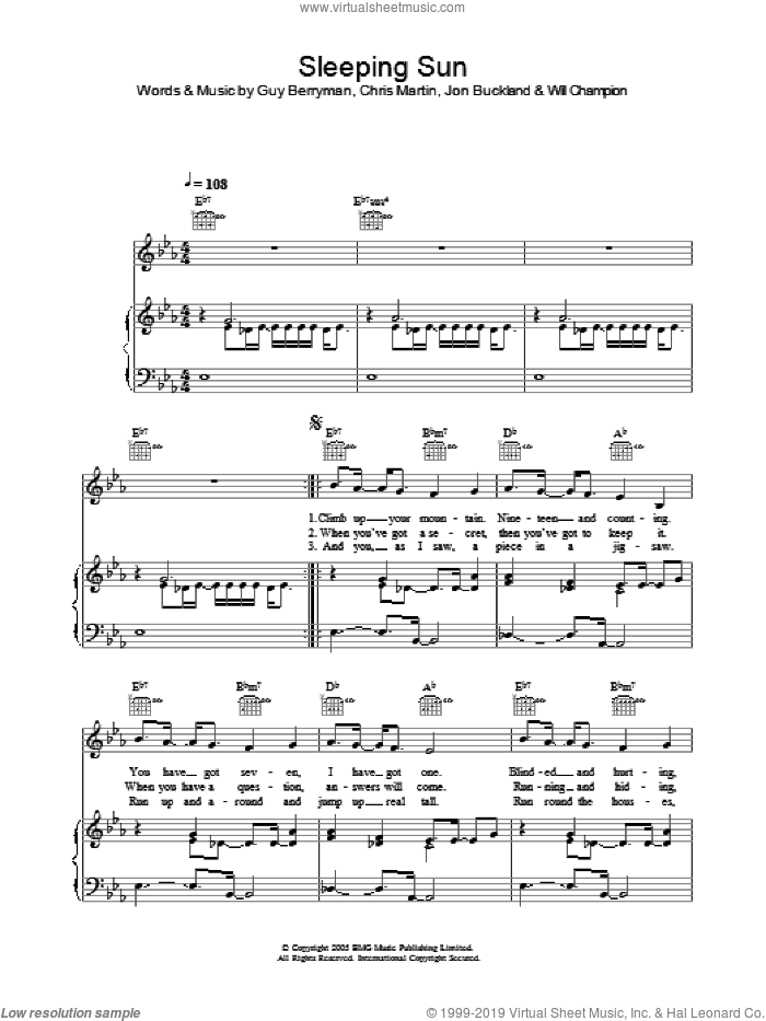 Sleeping Sun sheet music for voice, piano or guitar by Coldplay, Chris Martin, Guy Berryman, Jon Buckland and Will Champion, intermediate skill level