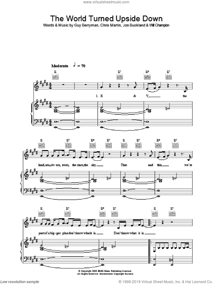 The World Turned Upside Down sheet music for voice, piano or guitar by Coldplay, Chris Martin, Guy Berryman, Jon Buckland and Will Champion, intermediate skill level