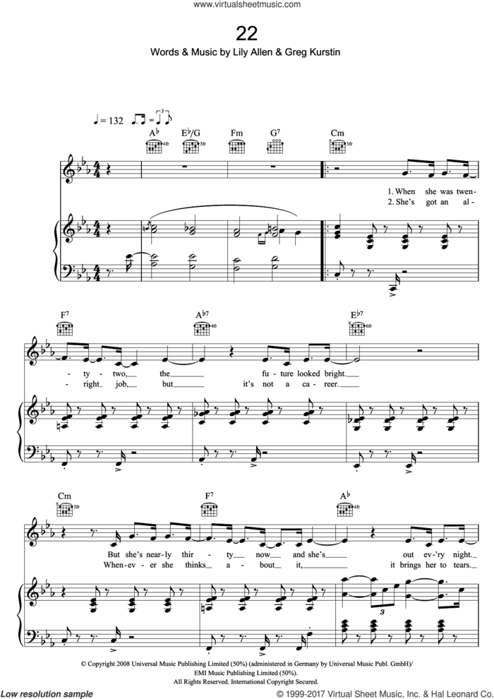 22 sheet music for voice, piano or guitar by Lily Allen and Greg Kurstin, intermediate skill level