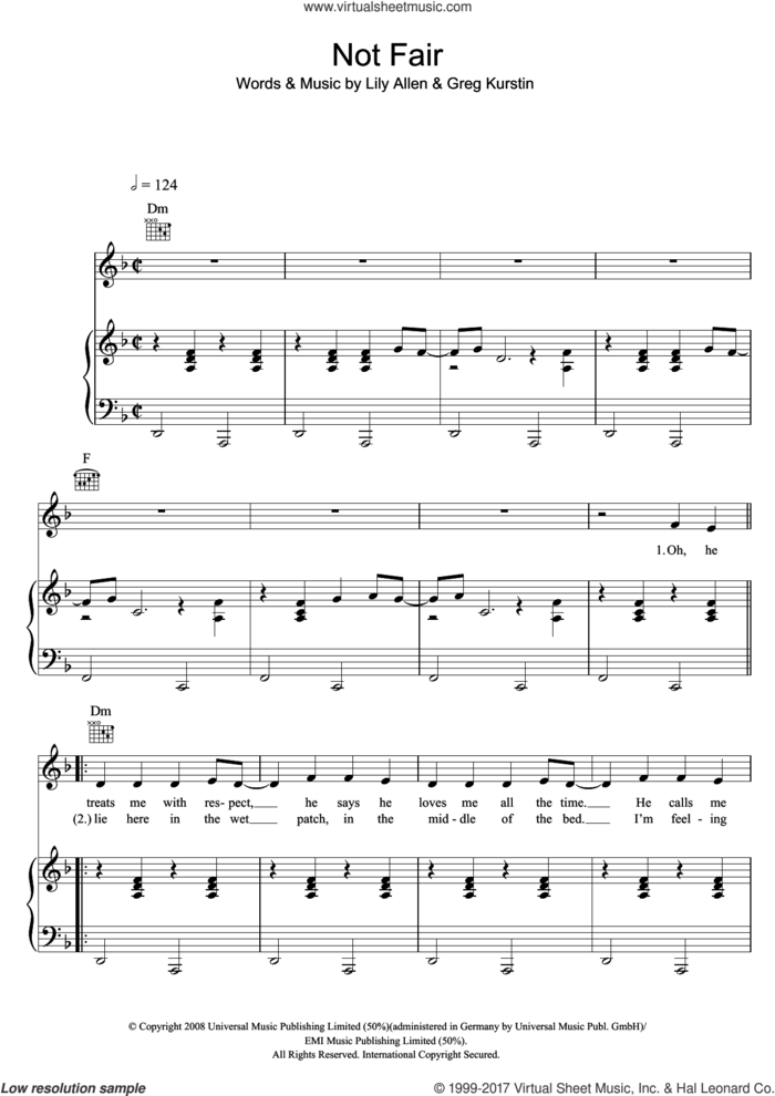 Not Fair sheet music for voice, piano or guitar by Lily Allen and Greg Kurstin, intermediate skill level