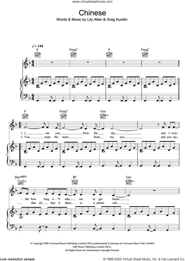Chinese sheet music for voice, piano or guitar by Lily Allen and Greg Kurstin, intermediate skill level