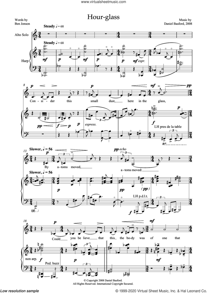Hour-glass (for alto and harp) sheet music for voice and piano by Daniel Basford and Ben Jonson, classical score, intermediate skill level