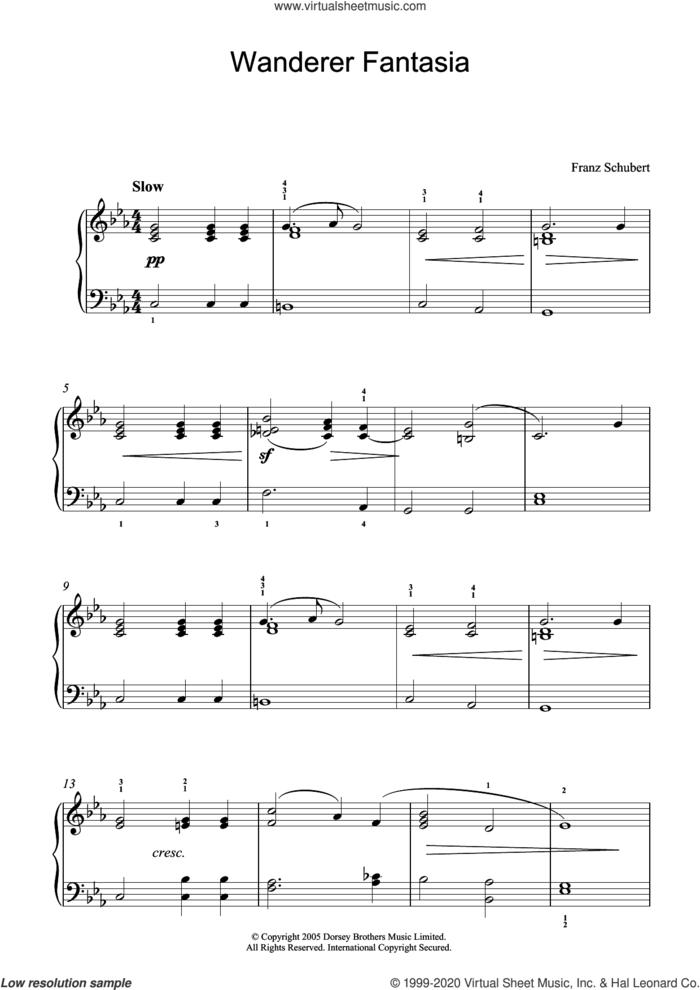 Wanderer Fantasia sheet music for piano solo by Franz Schubert, classical score, intermediate skill level