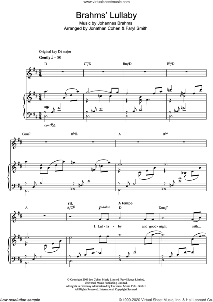 Brahms' Lullaby sheet music for voice and piano by Faryl Smith and Johannes Brahms, classical score, intermediate skill level