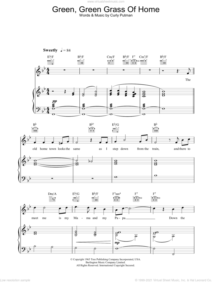 Green, Green Grass Of Home sheet music for voice, piano or guitar by Katherine Jenkins and Curly Putman, classical score, intermediate skill level