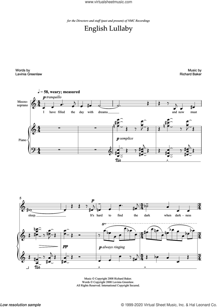 English Lullaby (for mezzo-soprano and piano) sheet music for voice and piano by Richard Baker and Lavinia Greenlaw, classical score, intermediate skill level