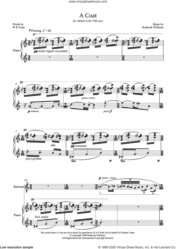 A Coat (for baritone and piano) sheet music for voice and piano by Roderick Williams and William Butler Yeats, classical score, intermediate skill level