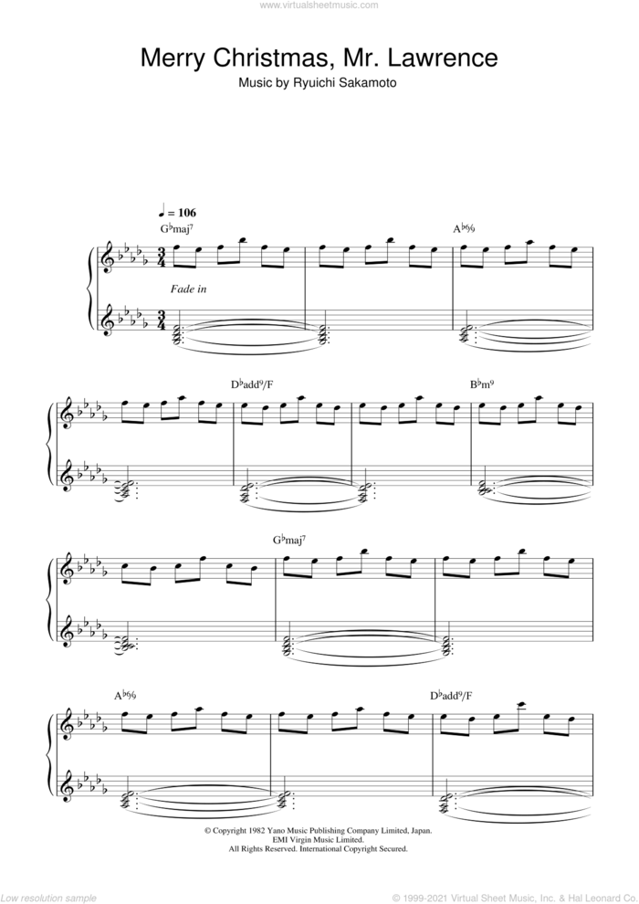 Merry Christmas, Mr. Lawrence sheet music for piano solo by Ryuichi Sakamoto, intermediate skill level