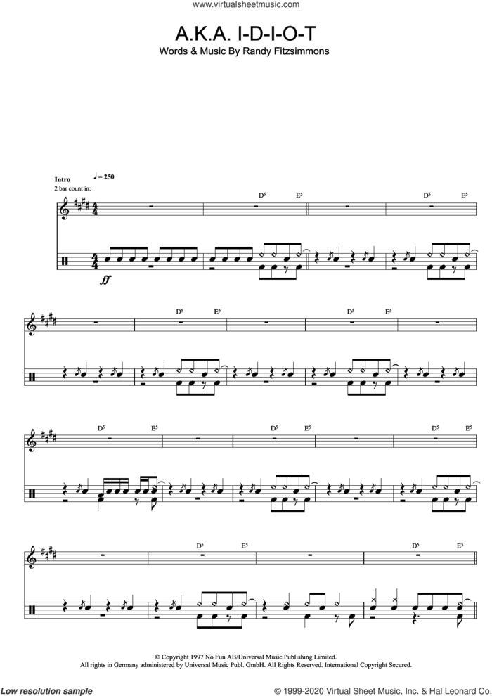 A.K.A. I-D-I-O-T sheet music for drums (percussions) by The Hives and Randy Fitzsimmons, intermediate skill level