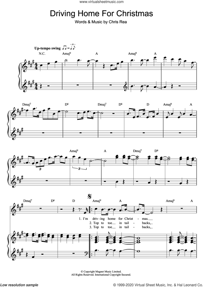 Driving Home For Christmas sheet music for voice, piano or guitar by Chris Rea, intermediate skill level