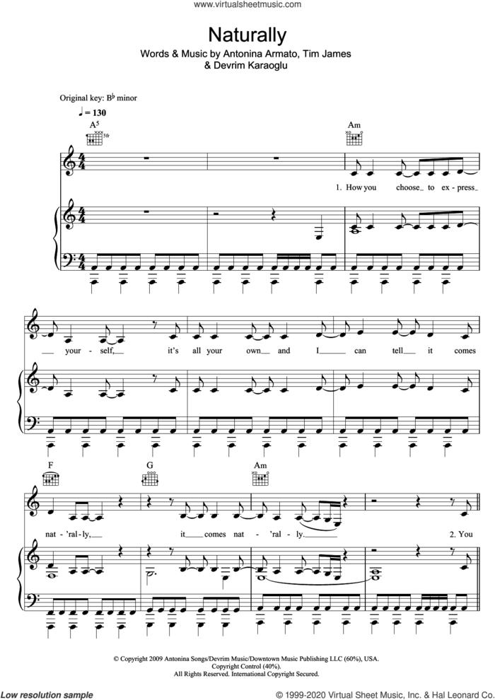 Naturally sheet music for voice, piano or guitar by Tim James, Selena Gomez, Antonina Armato and Devrim Karaoglu, intermediate skill level