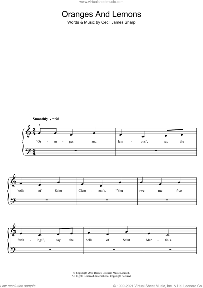 Oranges And Lemons sheet music for piano solo (5-fingers) by Traditional Nursery Rhyme and Cecil J. Sharp, beginner piano (5-fingers)