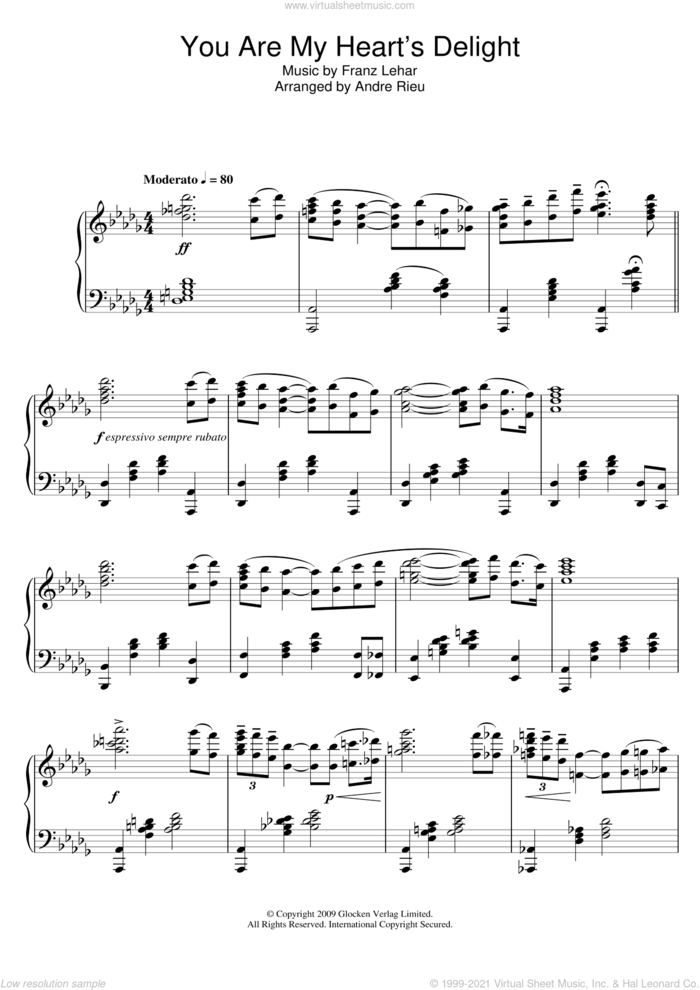 You Are My Heart's Delight sheet music for piano solo by Franz Lehar and Andre Rieu and Andre Rieu, intermediate skill level
