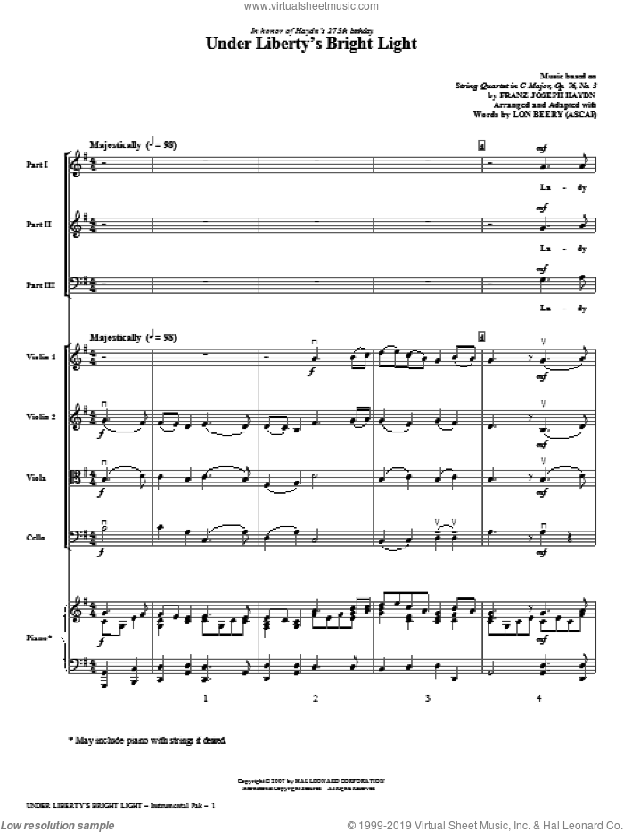 Under Liberty's Bright Light (COMPLETE) sheet music for orchestra/band (Strings) by Franz Joseph Haydn and Lon Beery, classical score, intermediate skill level