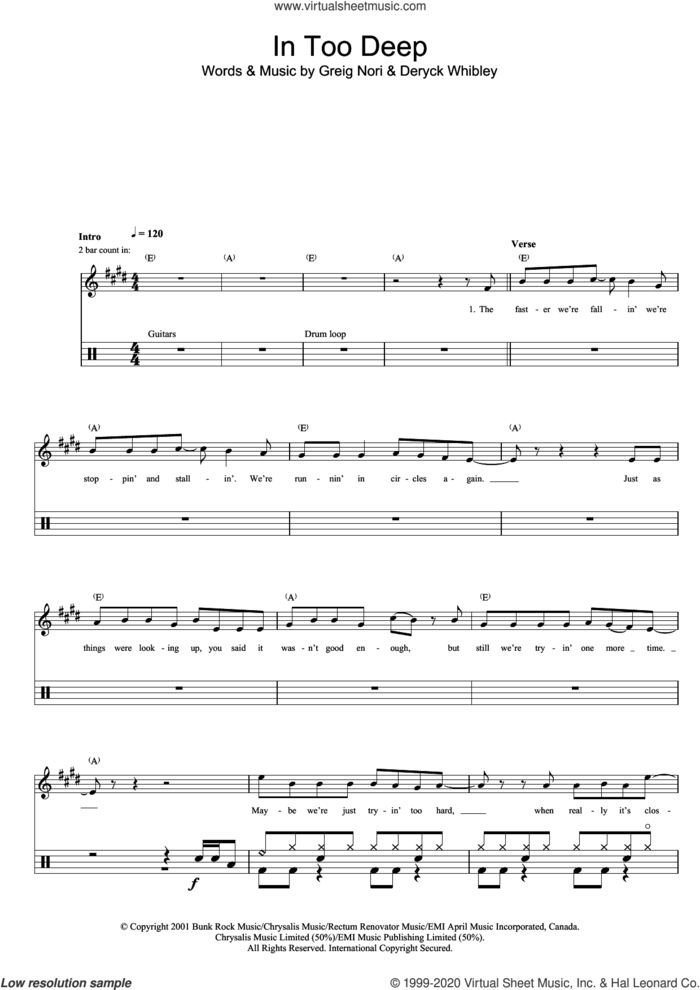 In Too Deep sheet music for drums (percussions) by Sum 41, Deryck Whibley and Greig Nori, intermediate skill level