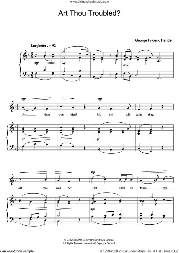 Art Thou Troubled? (from Rodelinda) sheet music for voice and piano by George Frideric Handel, classical score, intermediate skill level