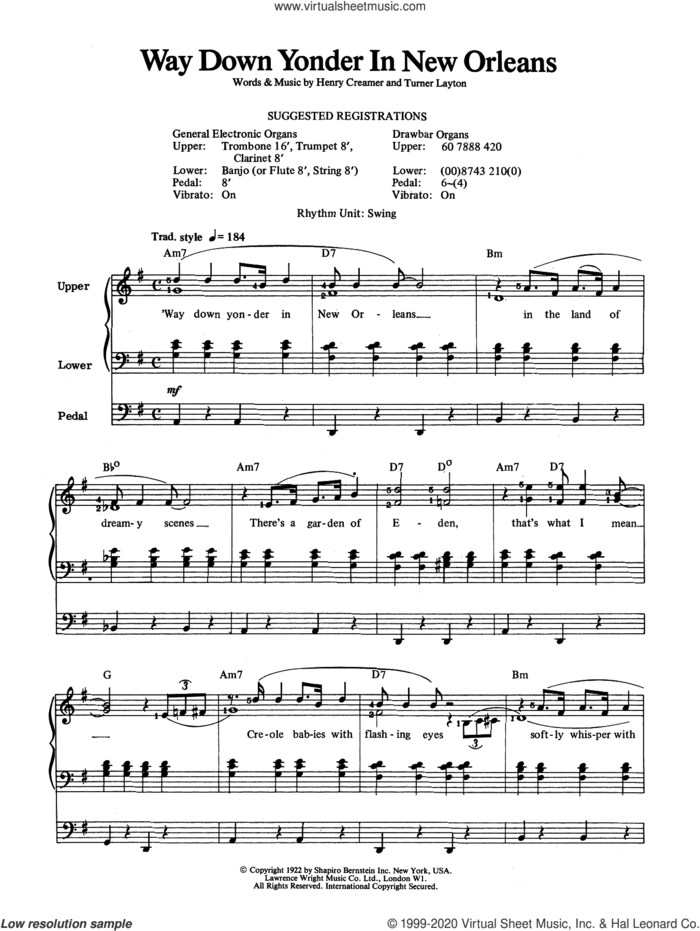 Way Down Yonder In New Orleans sheet music for organ by Louis Armstrong, Henry Creamer and Turner Layton, intermediate skill level