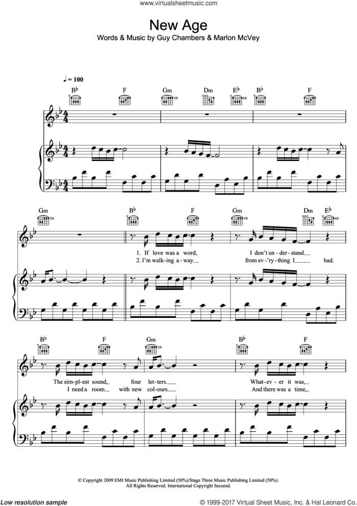New Age sheet music for voice, piano or guitar by Marlon Roudette, Guy Chambers and Marlon McVey, intermediate skill level