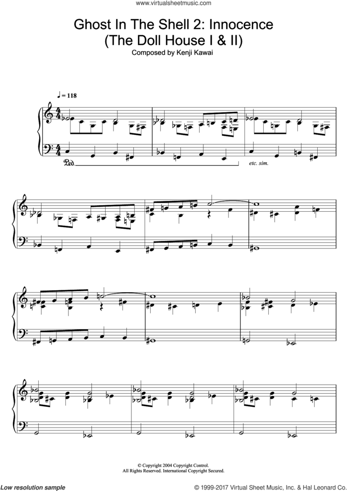 Ghost In The Shell 2: Innocence (The Doll House I and II) sheet music for piano solo by Kenji Kawai, intermediate skill level