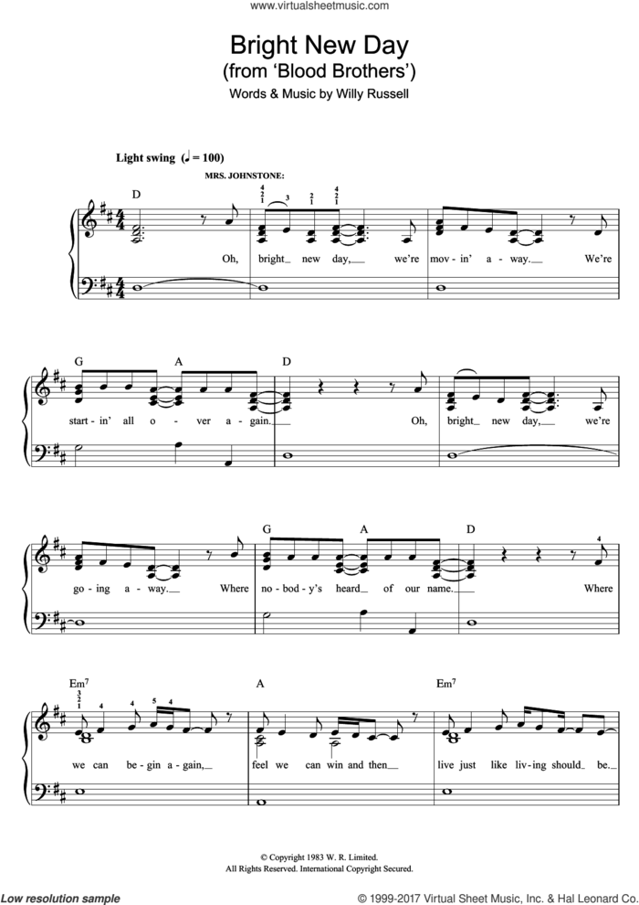 Bright New Day (from Blood Brothers) sheet music for piano solo by Willy Russell, easy skill level