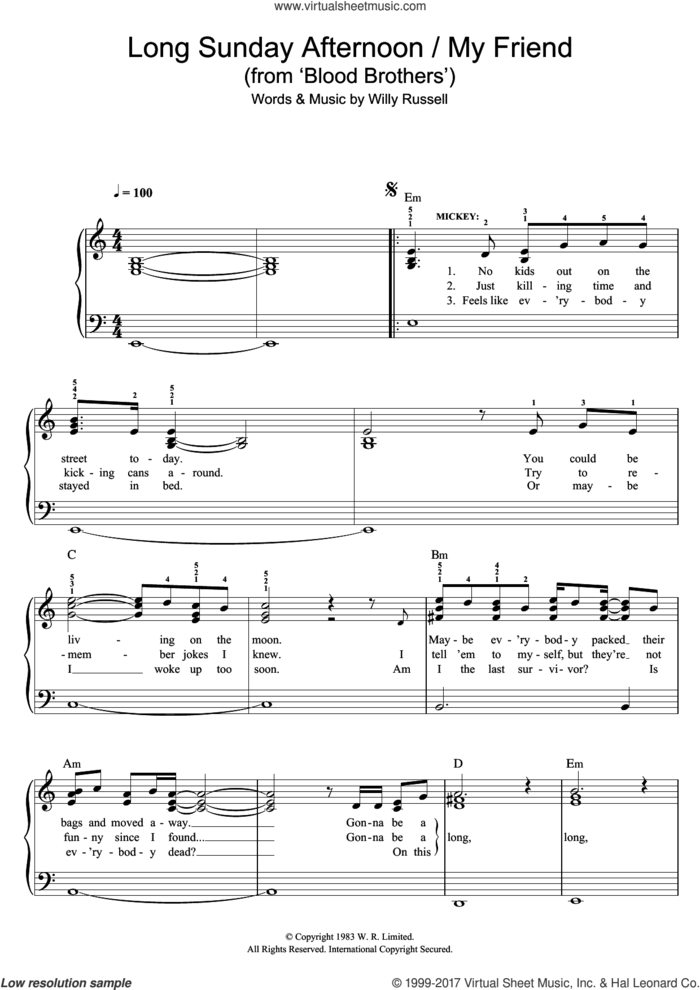 Long Sunday Afternoon/My Friend (from Blood Brothers) sheet music for piano solo by Willy Russell, easy skill level