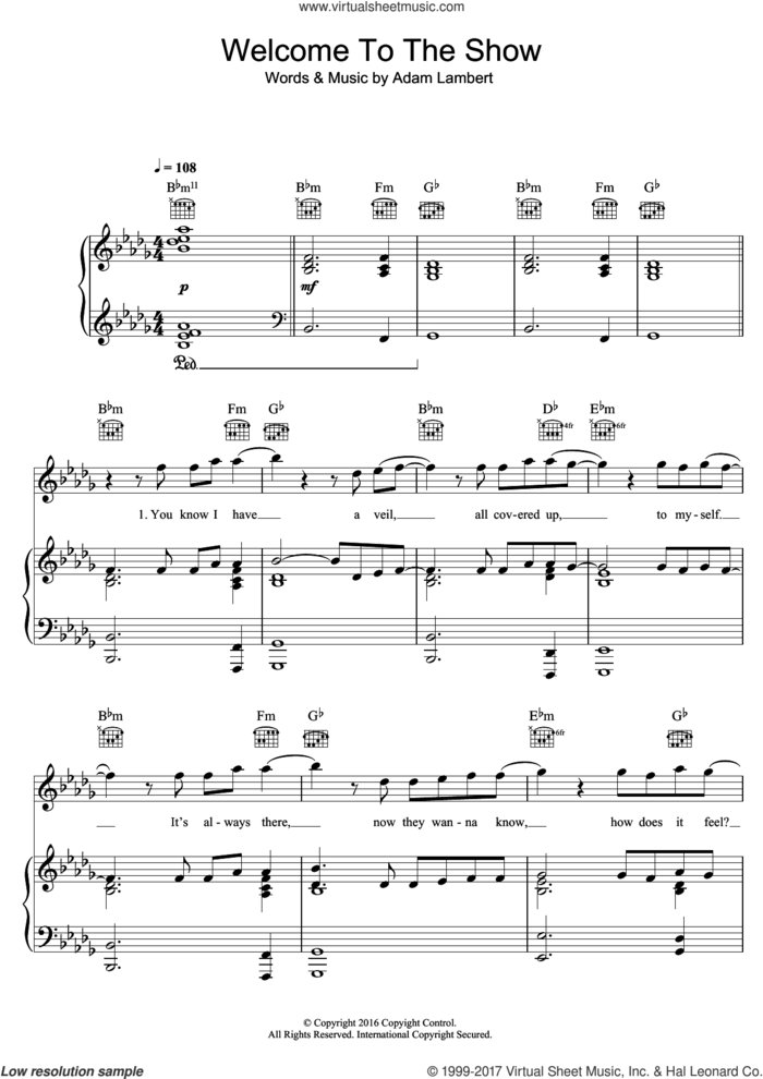 Welcome To The Show (featuring Laleh) sheet music for voice, piano or guitar by Adam Lambert and Laleh, intermediate skill level