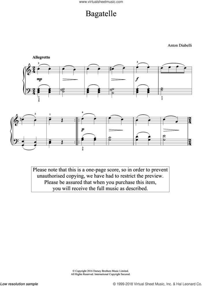Bagatelle sheet music for piano solo by Antonio Diabelli, classical score, easy skill level