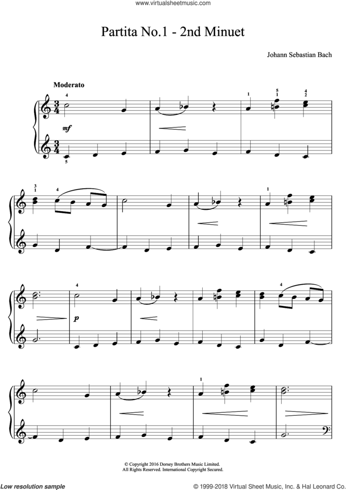 Partita No. 1 - 2nd Minuet sheet music for piano solo by Johann Sebastian Bach, classical score, easy skill level