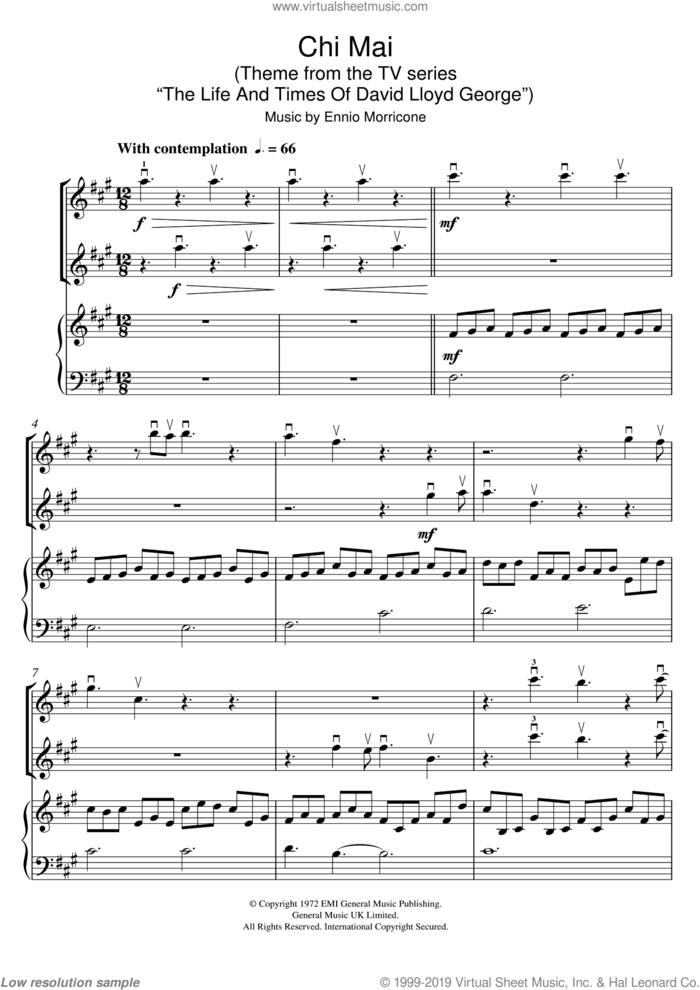 Chi Mai (Theme from the TV series 'The Life And Times Of David Lloyd George') sheet music for two violins (duets, violin duets) by Ennio Morricone, intermediate skill level