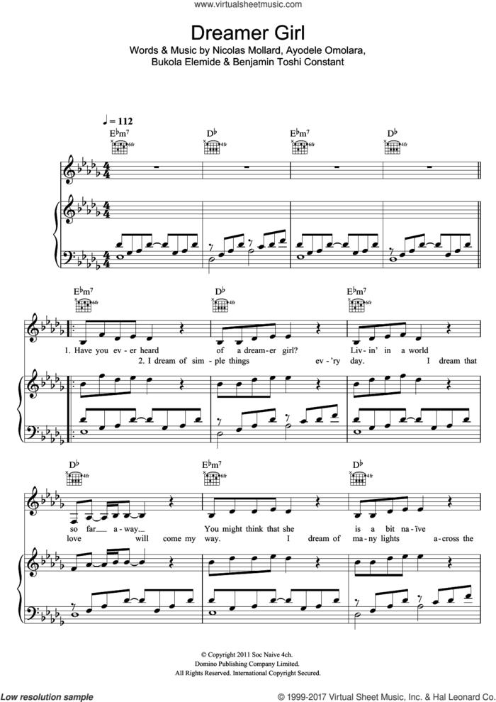 Dreamer Girl sheet music for voice, piano or guitar by Asa, Ayodele Omolara, Benjamin Toshi Constant, Bukola Elemide and Nicolas Mollard, intermediate skill level
