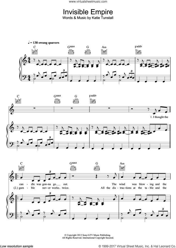 Invisible Empire sheet music for voice, piano or guitar by KT Tunstall, intermediate skill level