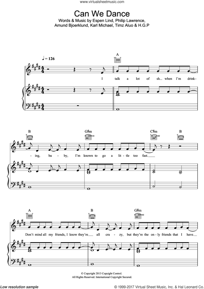 Can We Dance sheet music for voice, piano or guitar by The Vamps, Amund Bjoerklund, Espen Lind, H.G.P, Karl Michael, Philip Lawrence and Timz Aluo, intermediate skill level