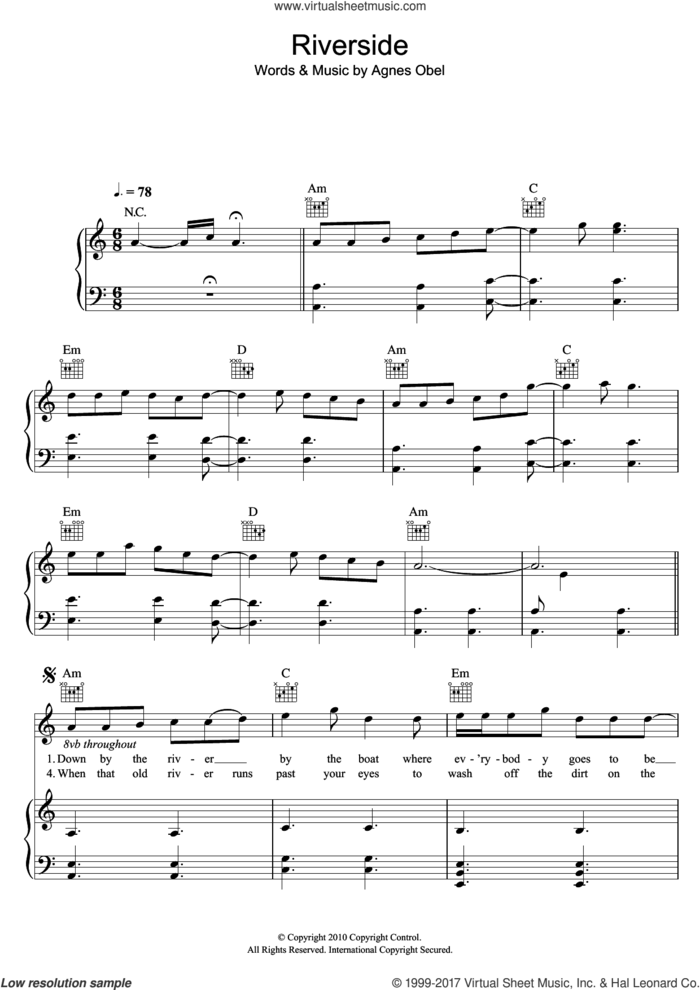 Riverside sheet music for voice, piano or guitar by Agnes Obel, intermediate skill level