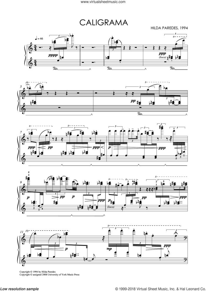Caligrama sheet music for piano solo by Hilda Paredes, classical score, intermediate skill level