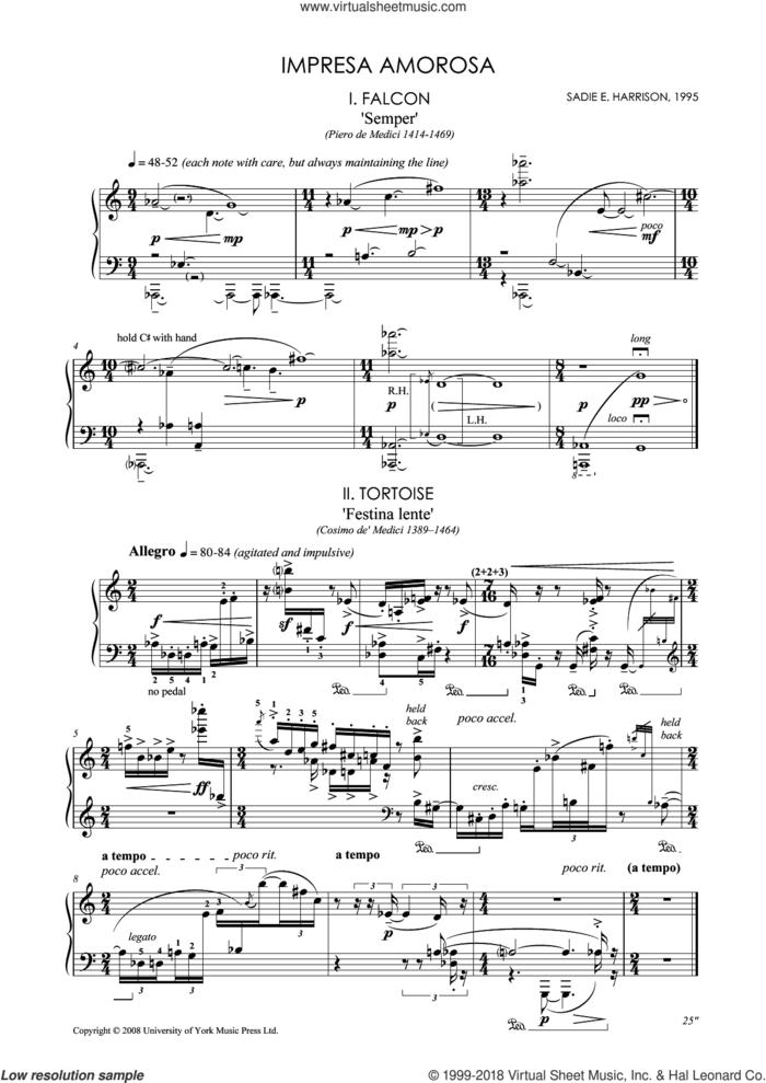 Impresa Amorosa sheet music for piano solo by Sadie Harrison, classical score, intermediate skill level