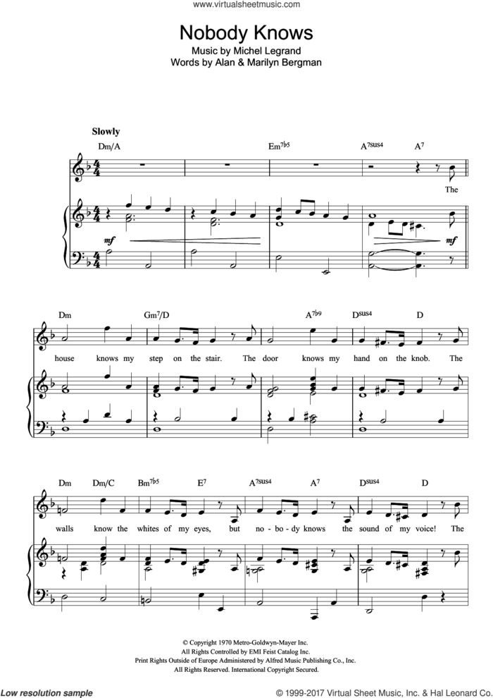 Nobody Knows sheet music for voice, piano or guitar by Michel LeGrand, Alan Bergman and Marilyn Bergman, intermediate skill level