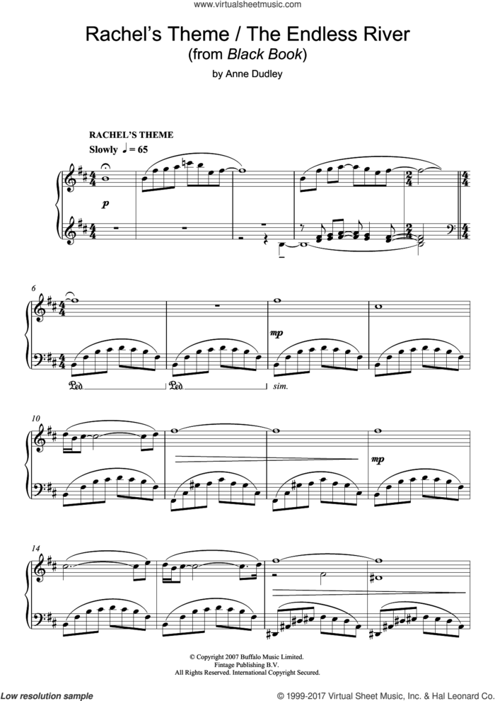 Rachel's Theme/The Endless River (from Black Book) sheet music for piano solo by Anne Dudley, classical score, intermediate skill level