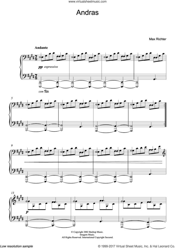 Andras sheet music for piano solo by Max Richter, classical score, intermediate skill level