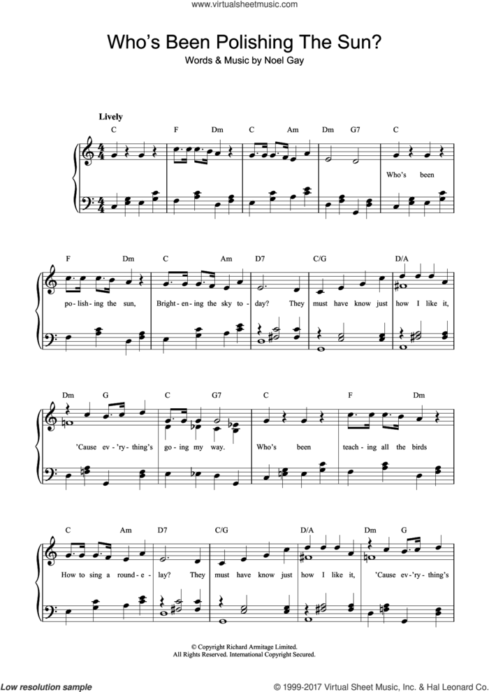 Who's Been Polishing The Sun sheet music for piano solo (beginners) by Noel Gay, beginner piano (beginners)