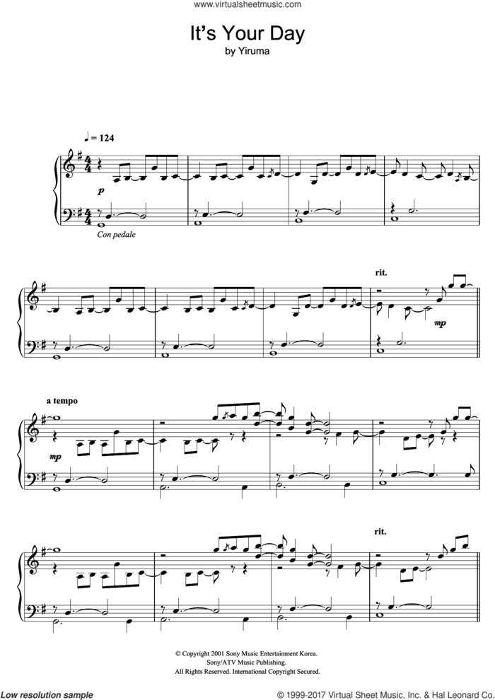 It's Your Day sheet music for piano solo by Yiruma, classical score, intermediate skill level