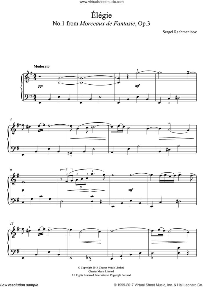 Elegie (No.1 from Morceaux de Fantasie, Op.3) sheet music for piano solo (beginners) by Serjeij Rachmaninoff, classical score, beginner piano (beginners)