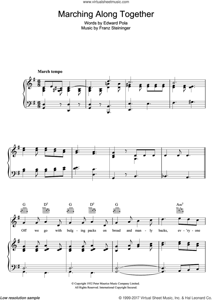 Marching Along Together sheet music for voice, piano or guitar by Jack Hylton, Eddie Pola and Franz Steininger, intermediate skill level