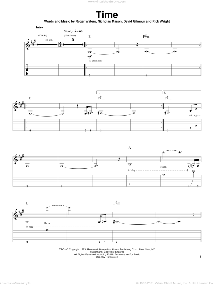 Time sheet music for guitar (tablature, play-along) by Pink Floyd, David Gilmour, Nicholas Mason, Richard Wright and Roger Waters, intermediate skill level