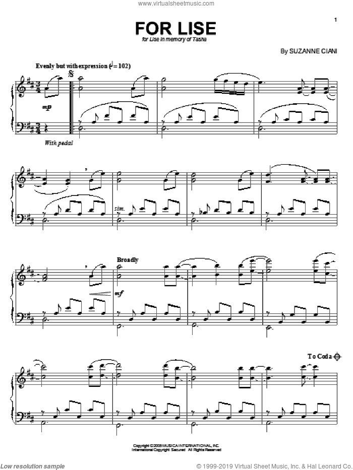 For Lise sheet music for piano solo by Suzanne Ciani, intermediate skill level