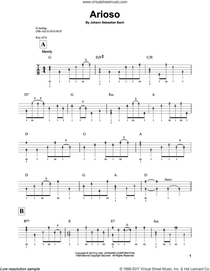 Arioso sheet music for banjo solo by Johann Sebastian Bach and Mark Phillips, classical score, intermediate skill level