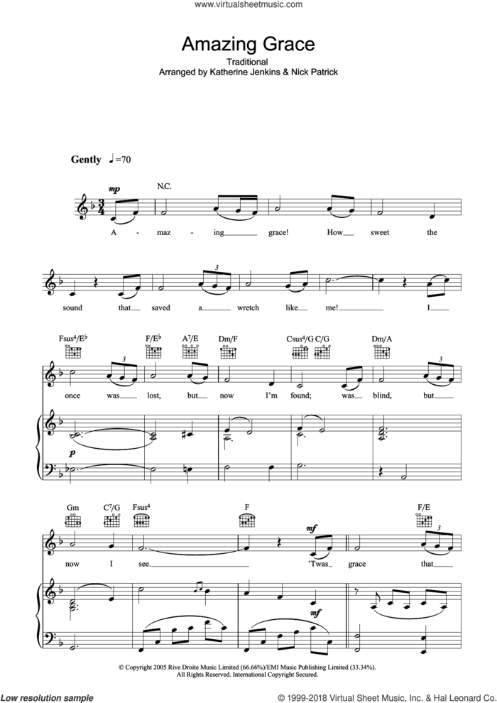 Amazing Grace sheet music for voice, piano or guitar by Katherine Jenkins, Nick Patrick and Miscellaneous, classical score, intermediate skill level