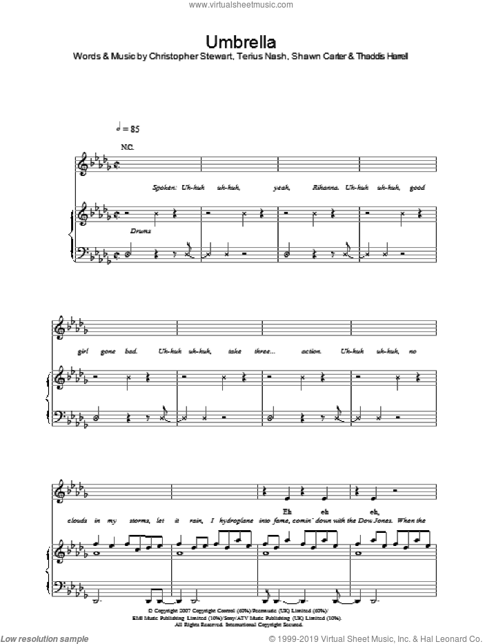 Umbrella sheet music for voice, piano or guitar by Rihanna featuring Jay-Z, Jay-Z, Rihanna, Christopher Stewart, Shawn Carter, Terius Nash and Thaddis Harrell, intermediate skill level