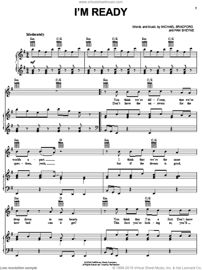 I'm Ready sheet music for voice, piano or guitar by Drew Seeley, Jump In! (Movie), Michael Bradford and Pam Sheyne, intermediate skill level