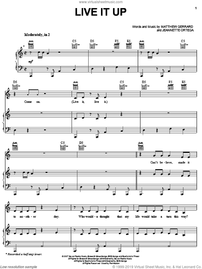 Live It Up sheet music for voice, piano or guitar by Jeannie Ortega, Jump In! (Movie), Jeannette Ortega and Matthew Gerrard, intermediate skill level